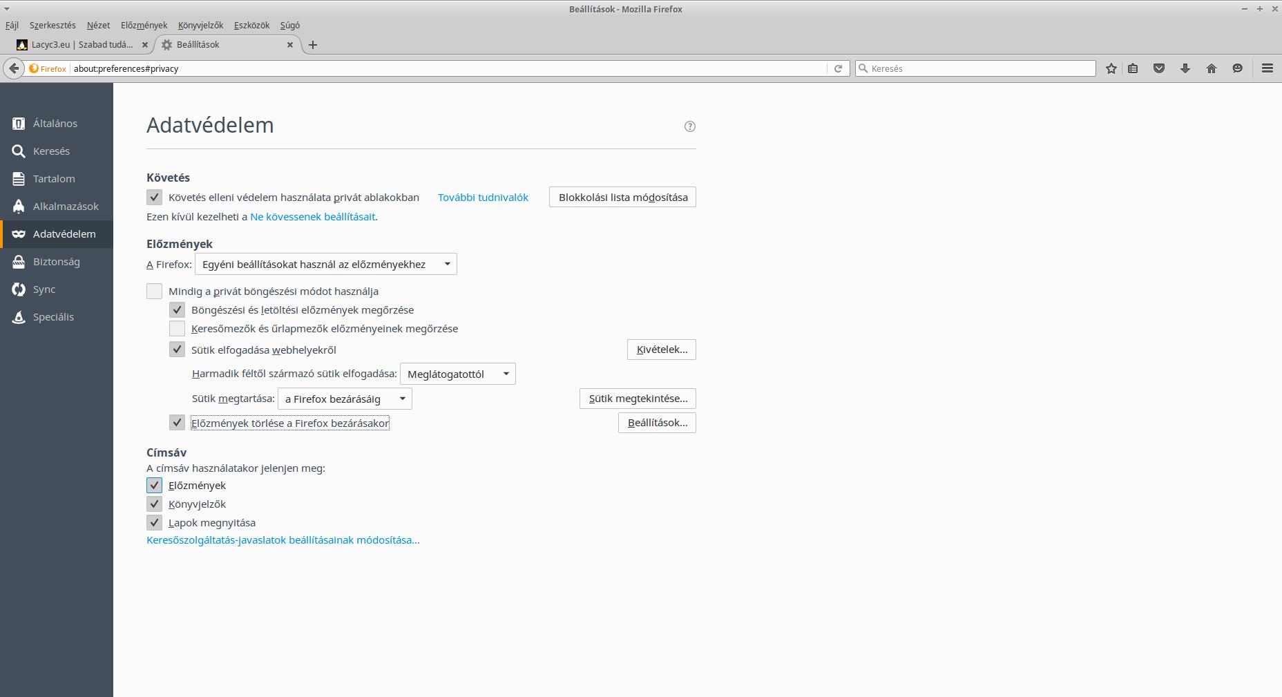 Firefox adatvédelmi beállítások