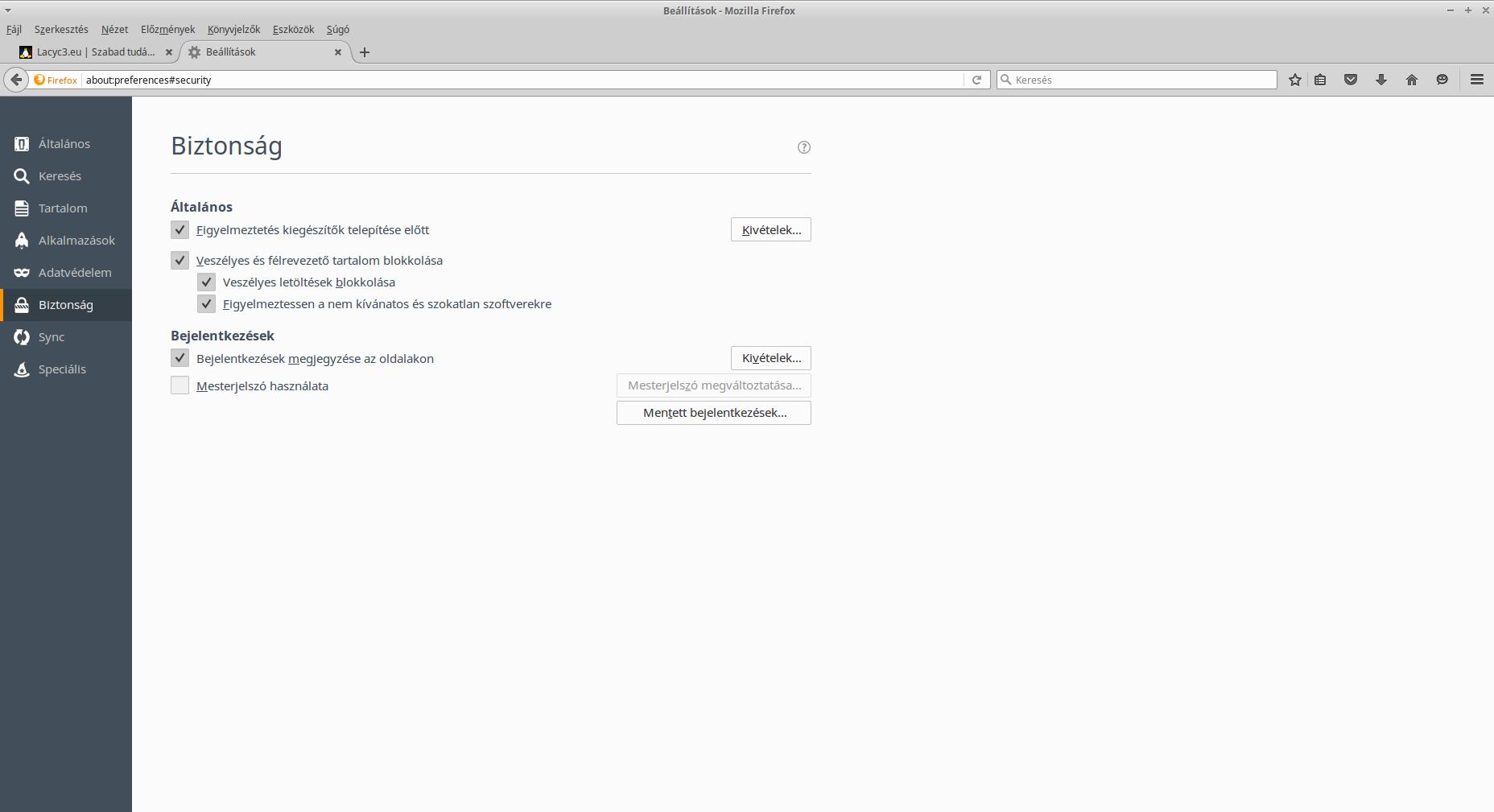 Firefox biztonsági beállítások