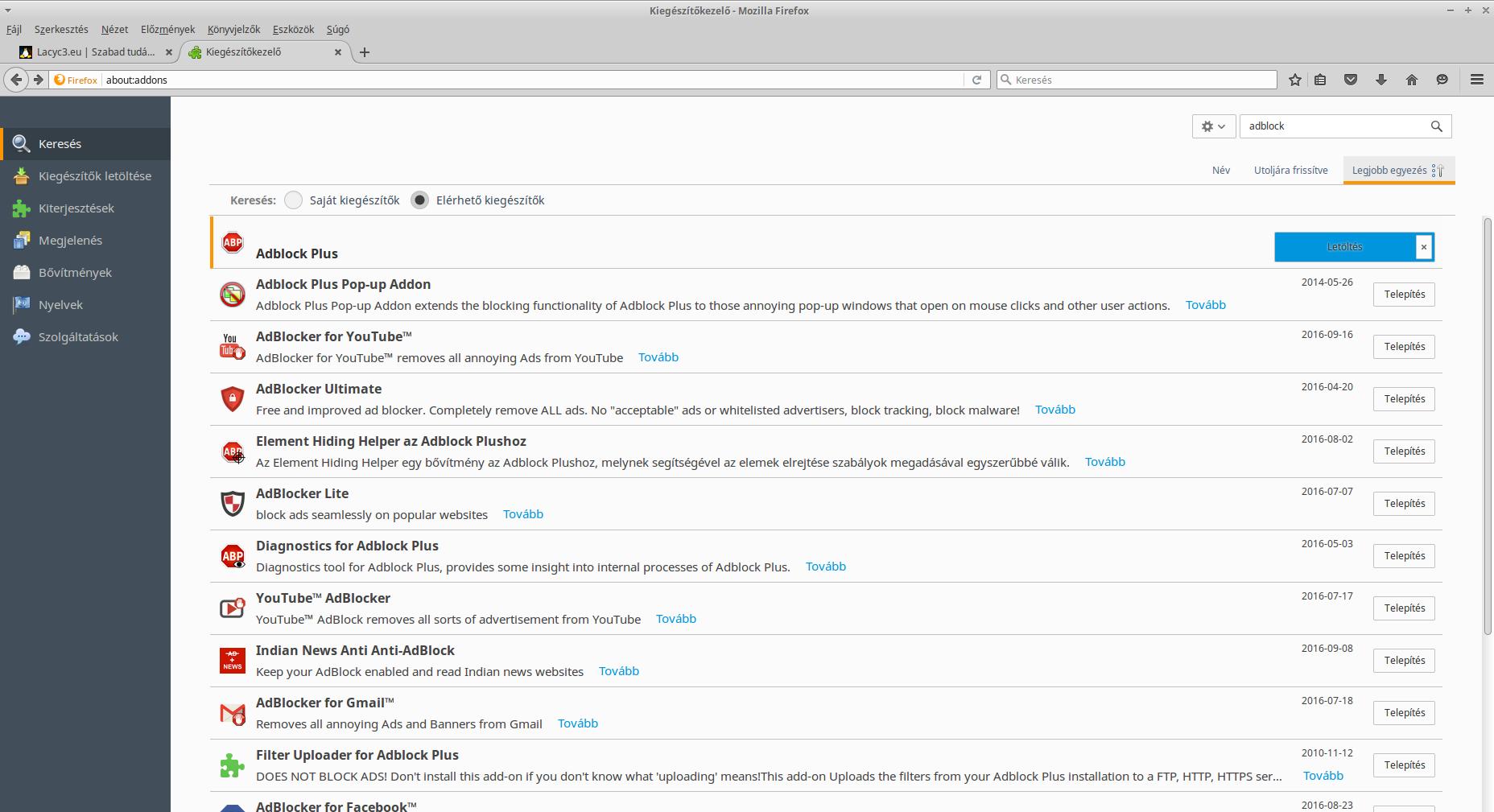 Adblock Plus kiegészítő telepítése Firefoxra