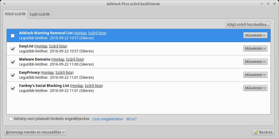 Adblock Plus szűrők