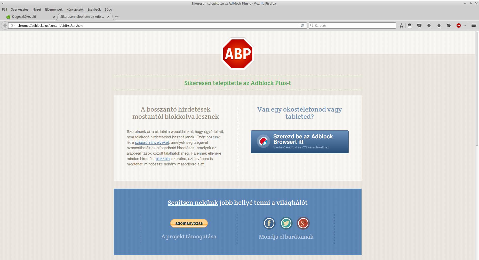 Adblock Plus telepítés után