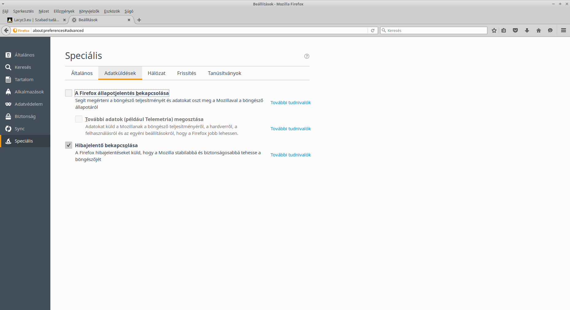 Firefox adatküldési beállítások