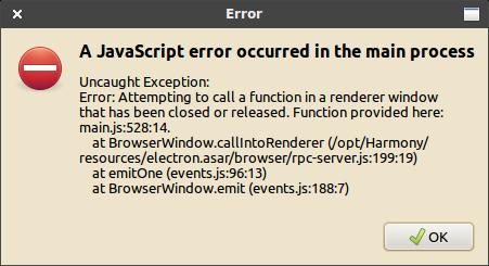Harmony JavaScript hiba