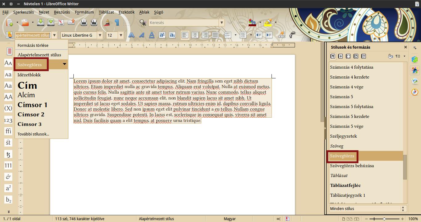 LibreOffice stílus alkalmazás