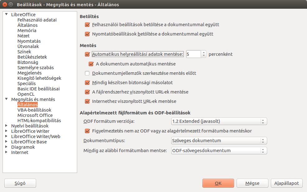 LibreOffice 4.4.5 beállítások