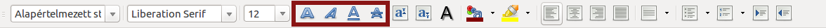 LibreOffice 4.4.2 formázás eszköztár