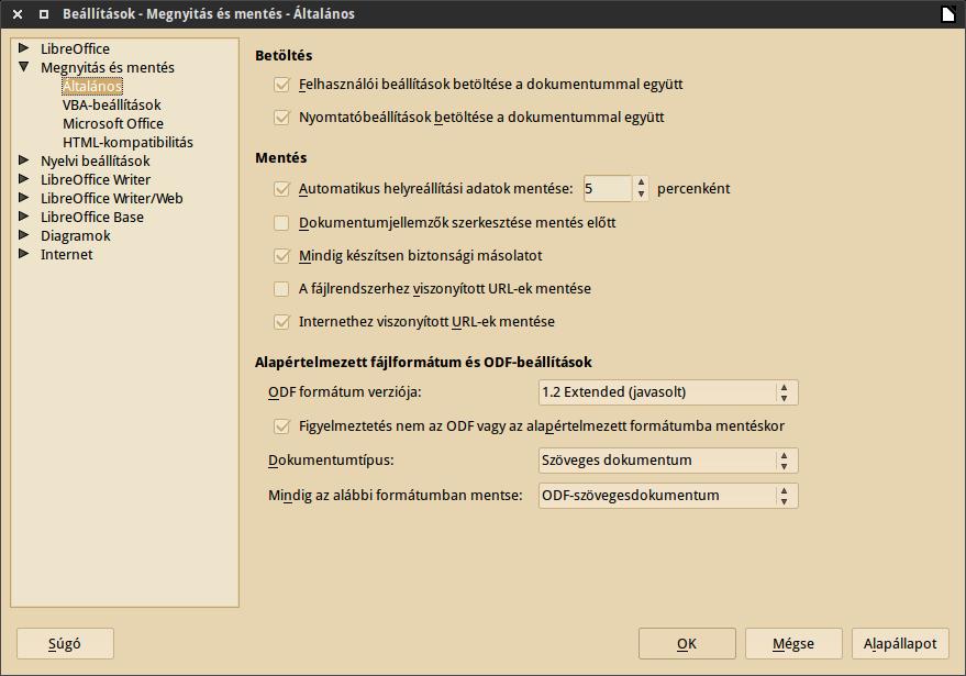 LibreOffice 5.0 beállítások
