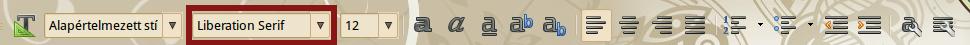 LibreOffice betűkészlet
