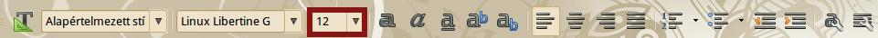 LibreOffice betűméret