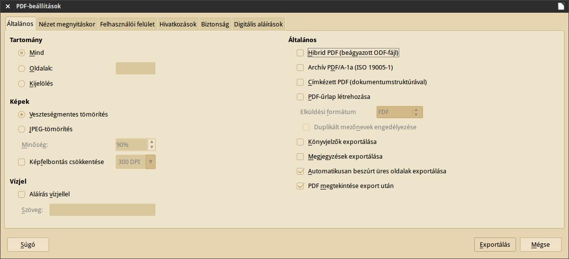 exportálás PDF-be, beállítások