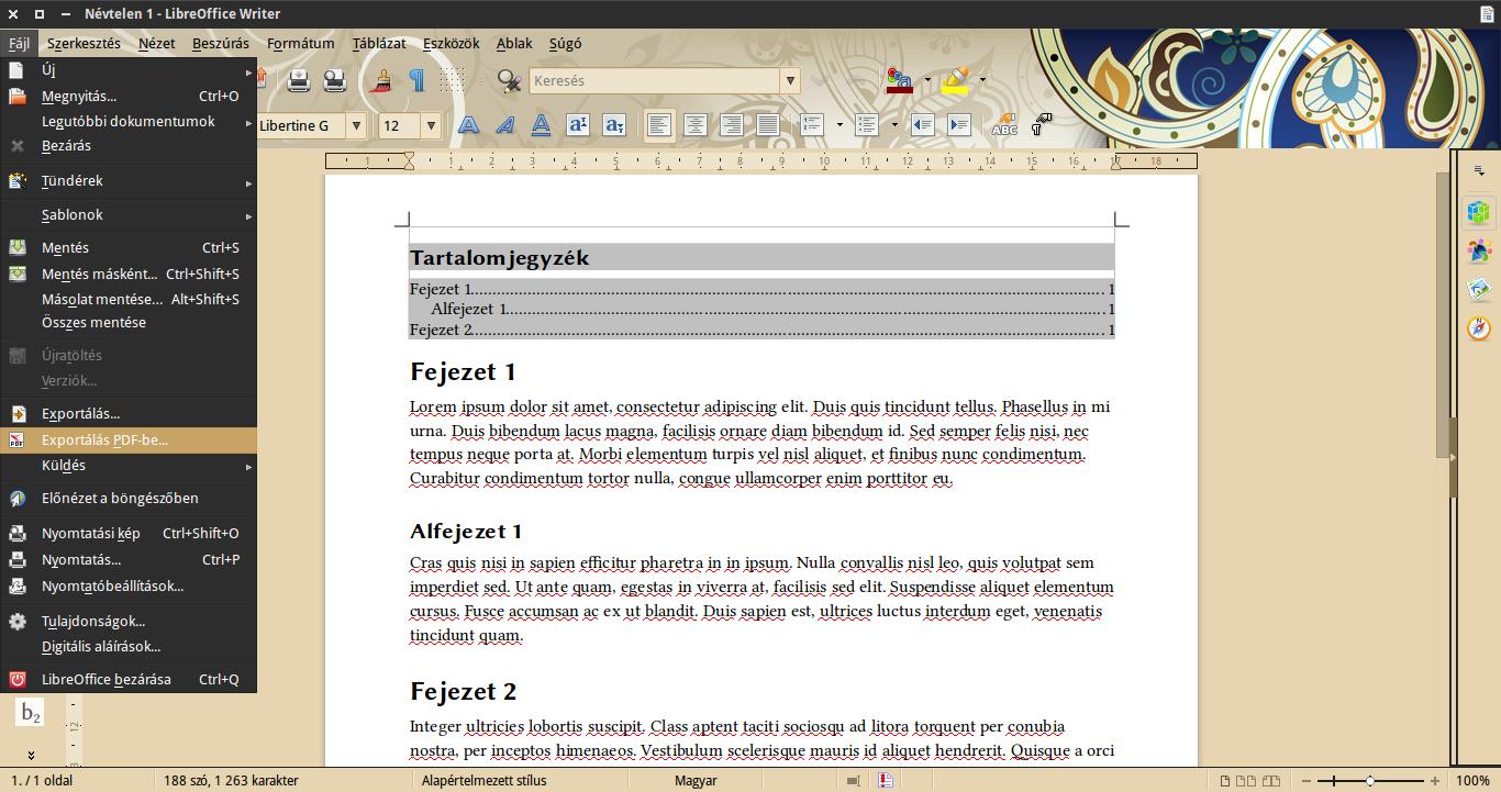 exportálás PDF-be