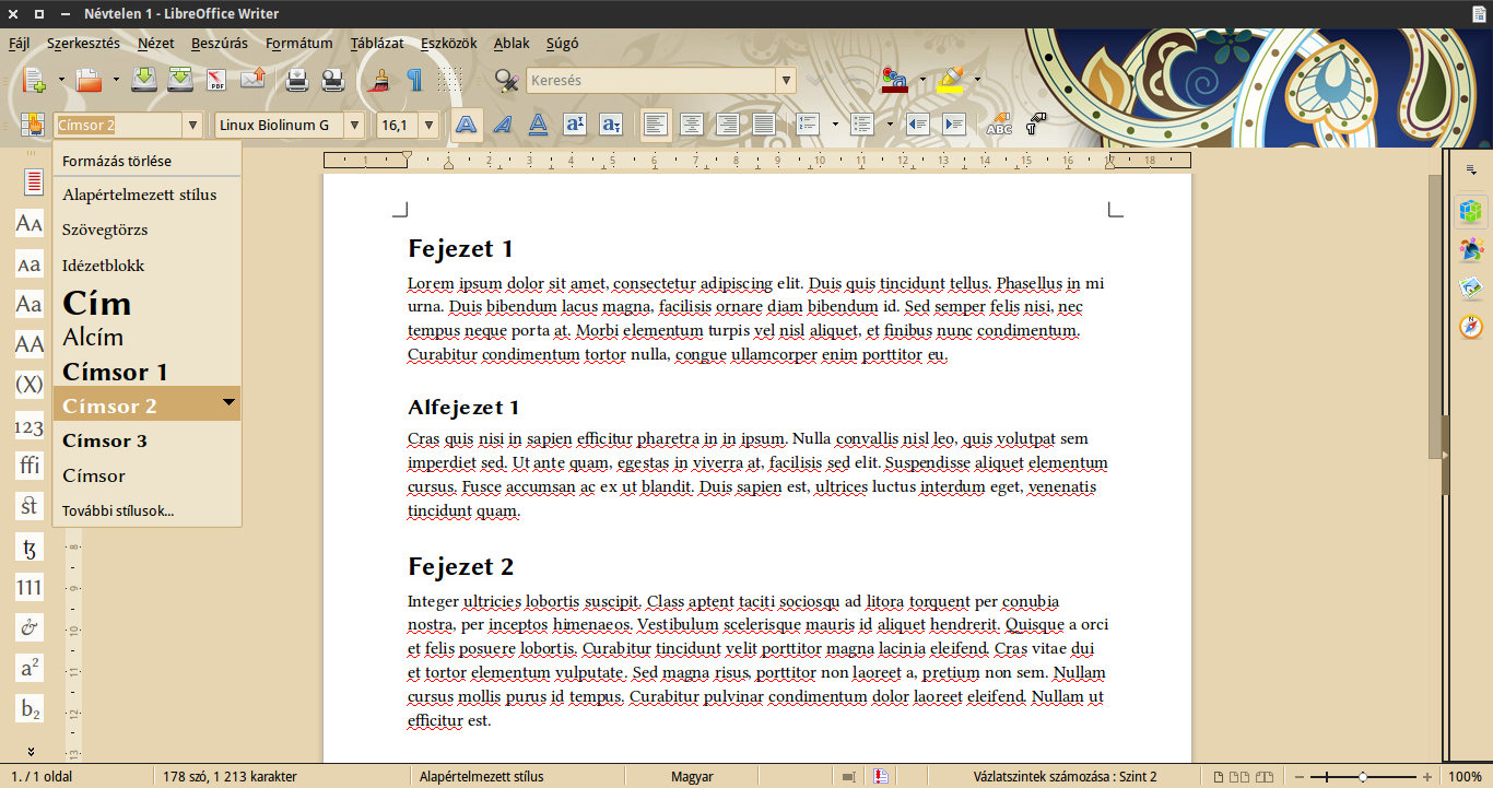 LibreOffice címsor stílus