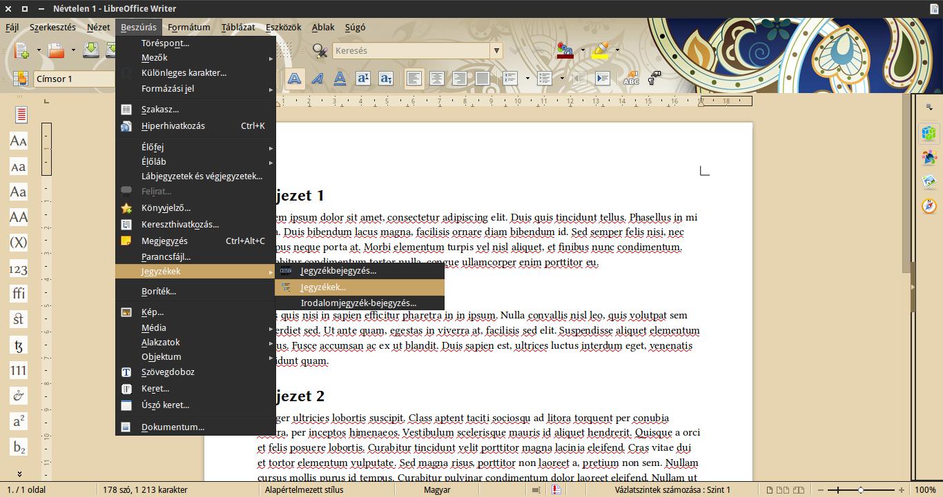 LibreOffice tartalomjegyzék beszúrás