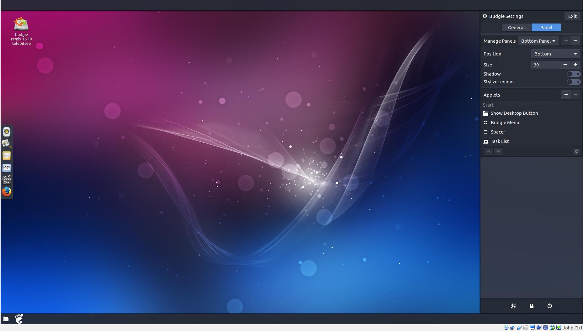 Ubuntu Budgie Panel beállítás