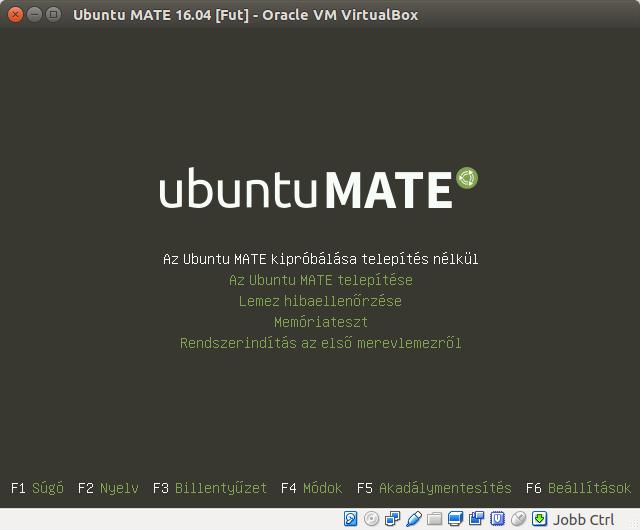 Ubuntu MATE 16.04 telepítési menü