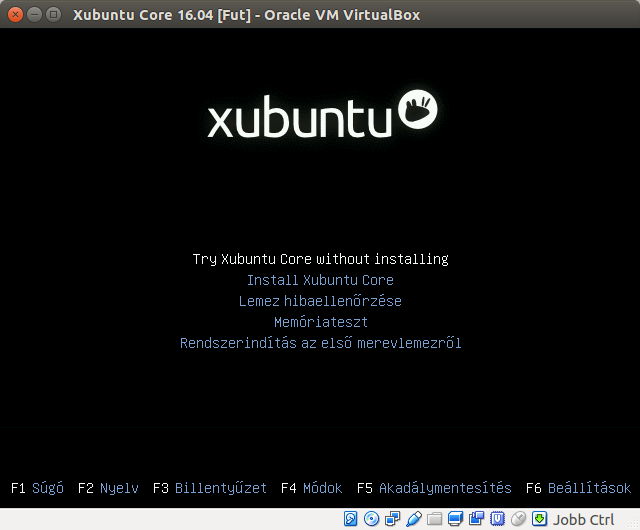 Xubuntu Core 16.04 telepítő boot menü