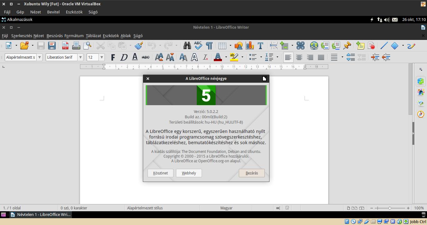 LibreOffice 5.0.2.2 Xubuntu 15.10