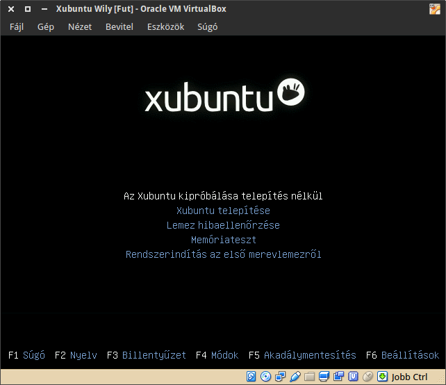 Xubuntu LiveCD boot menü