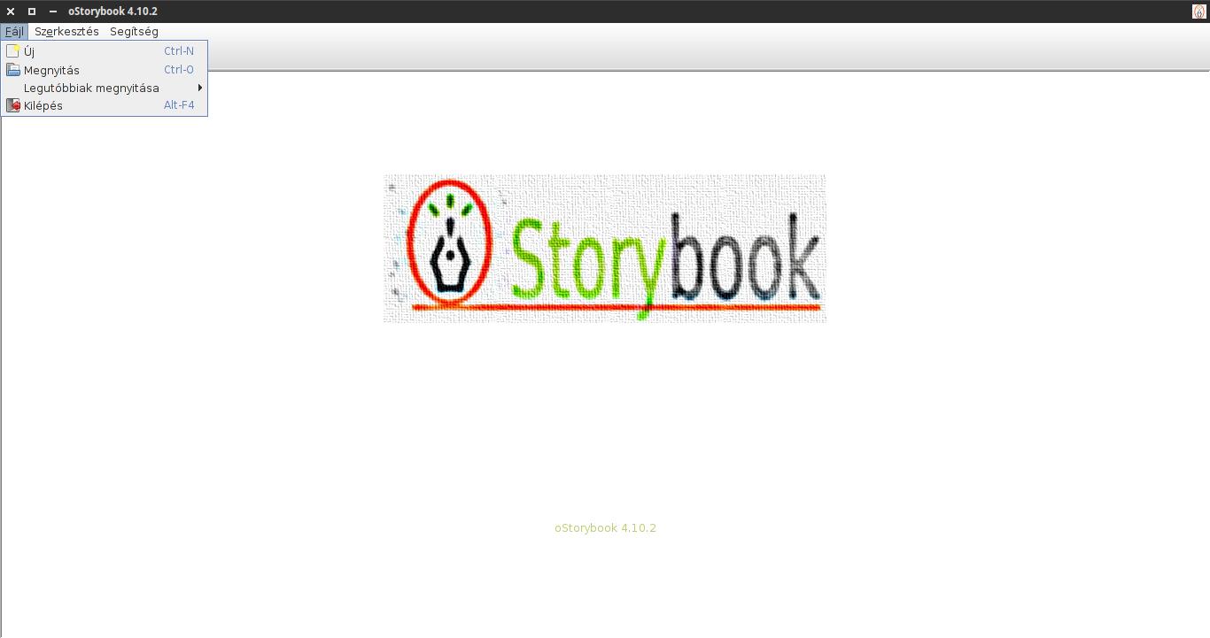 oStorybook alaphelyzet: fájl menü