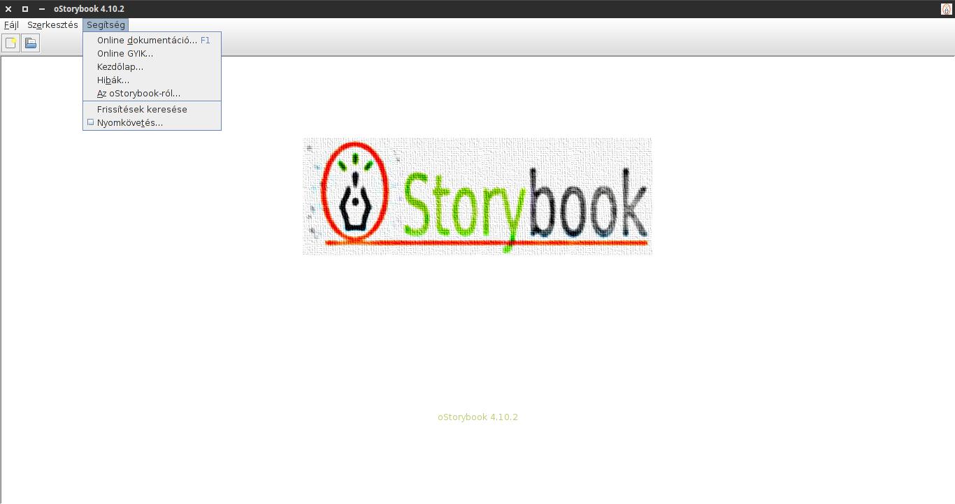 oStorybook alaphelyzet: segítség menü