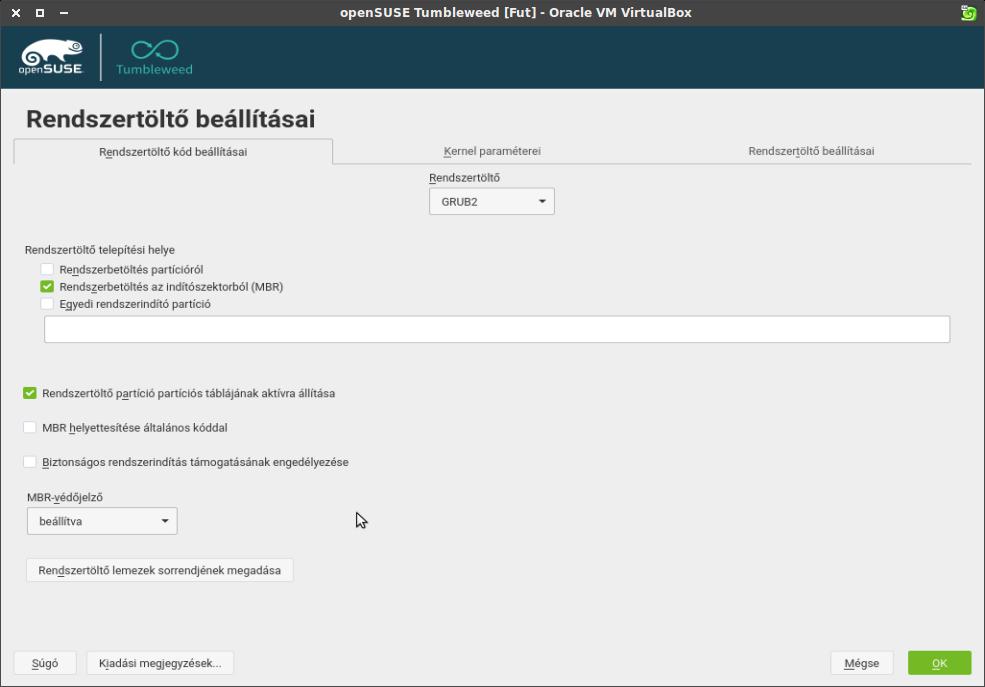 Rendszertöltő beállításai ablak, rendszertöltő kód beállításai