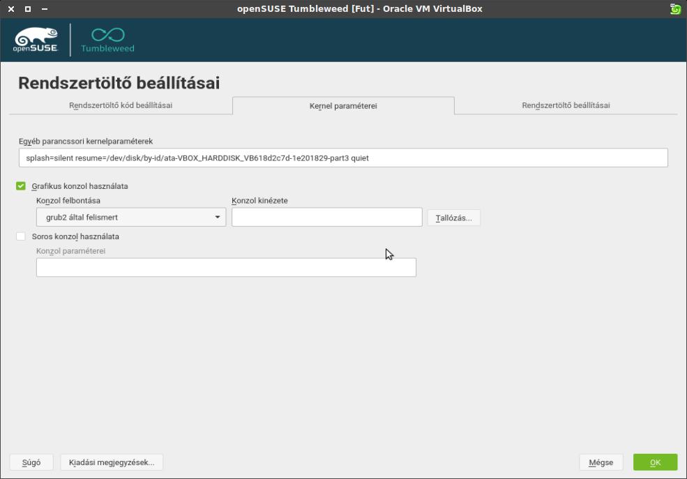 Rendszertöltő beállításai ablak, kernel paraméterei