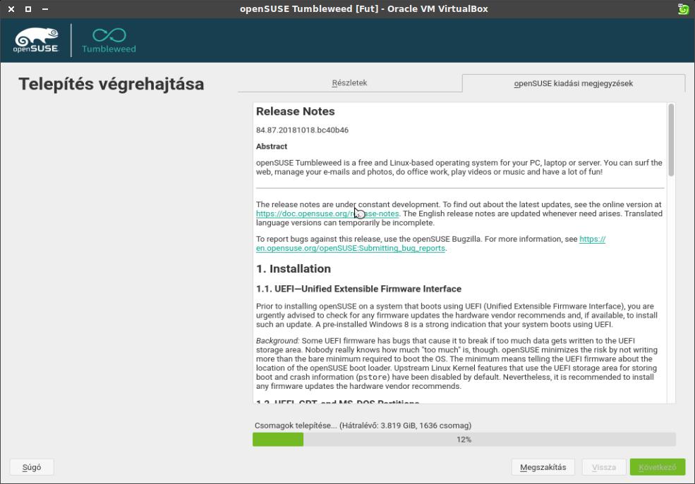 Telepítés végrehajtása ablak, openSUSE kiadási megjegyzések