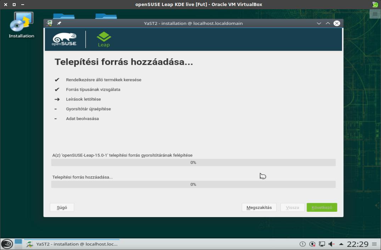 Leap KDE live lemezkép, telepítés