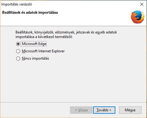 Firefox import ablak