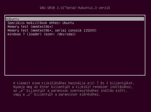 Grub2 rendszerválasztó
