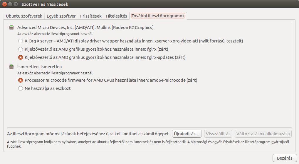 Ubuntu illesztőprogramok