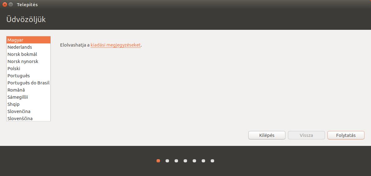 Ubuntu 16.10 Üdvözli a telepítő