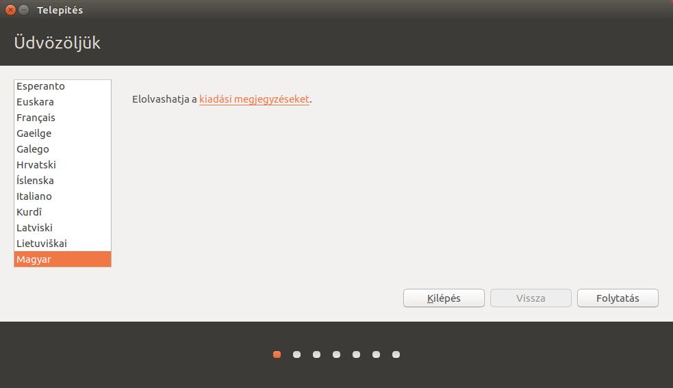 Ubuntu 17.04 - Telepítő üdvözlőképernyő