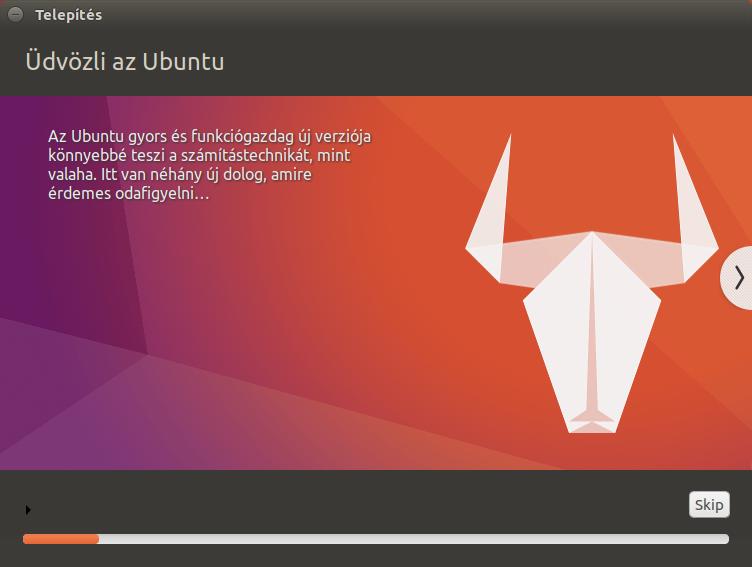 Ubuntu 17.04 - Telepítés folyamatban