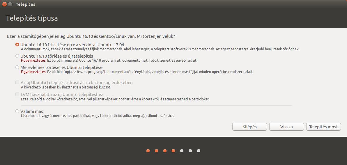 Ubuntu 17.04 - Telepítés típusa