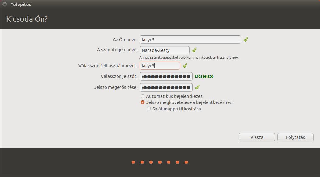 Ubuntu 17.04 - Felhasználói adatok
