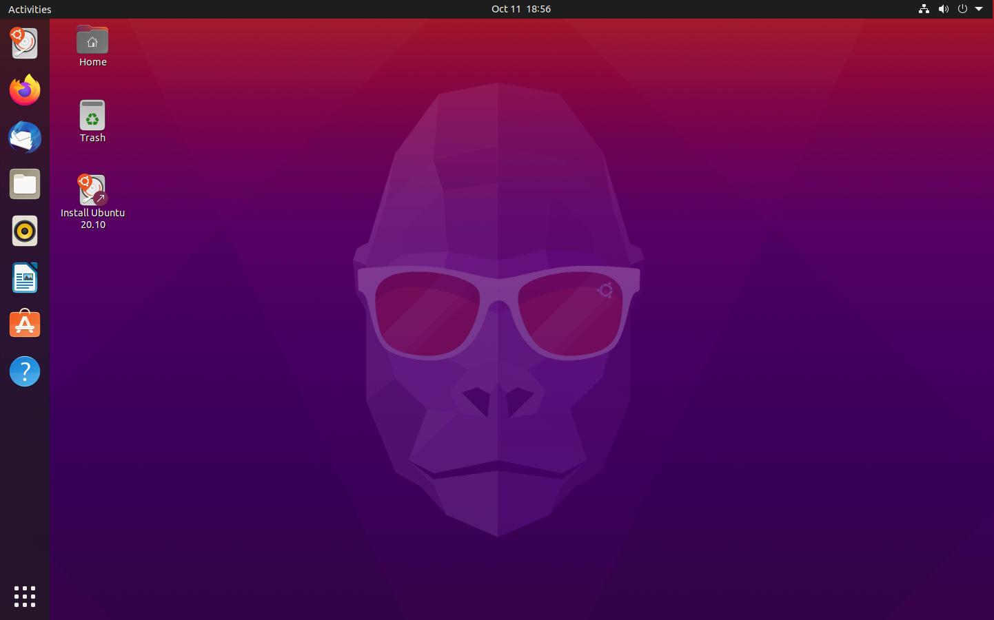 Ubuntu 20.10 livecd asztal