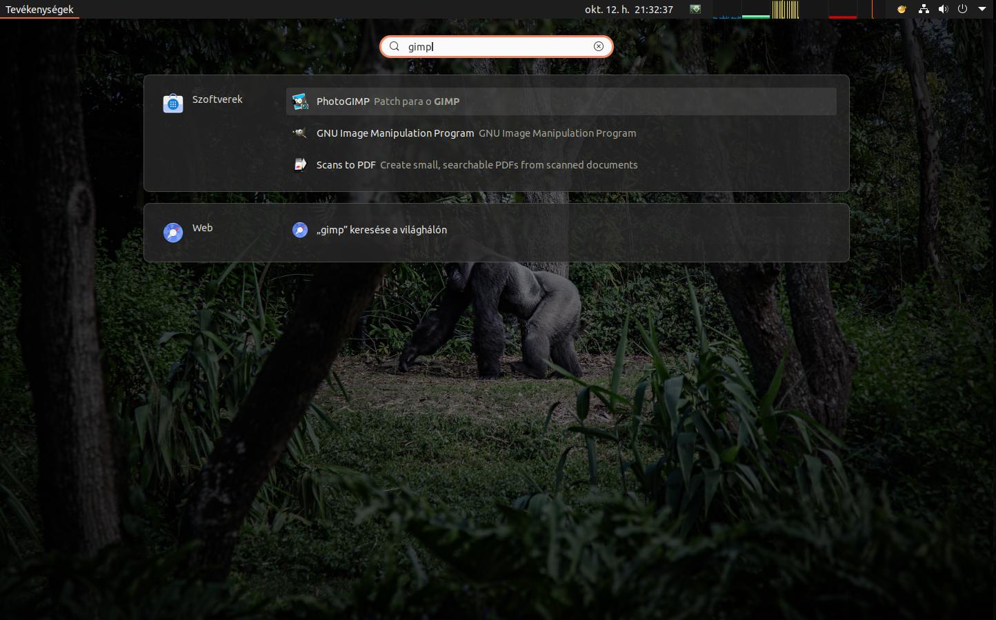 Megtalálja a GIMP-et a kereső.