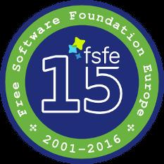 FSFE 15 kitűző