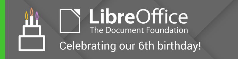 LibreOffice hatodik születésnap
