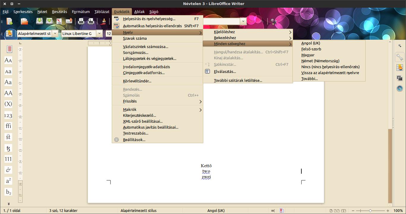 LibreOffice Eszközök menü