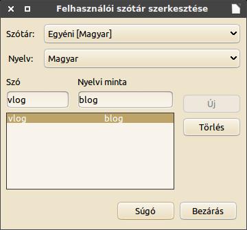 Felhasználói szótár