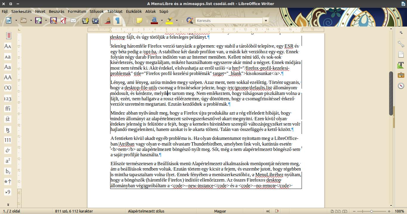LibreOffice 5: hiba a grafikus felületen
