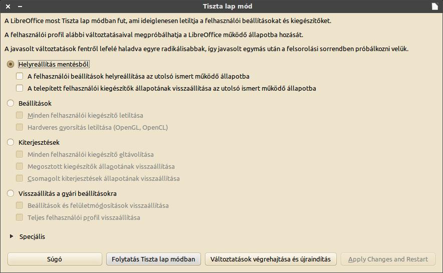Tiszta lap mód LibreOffice-ban