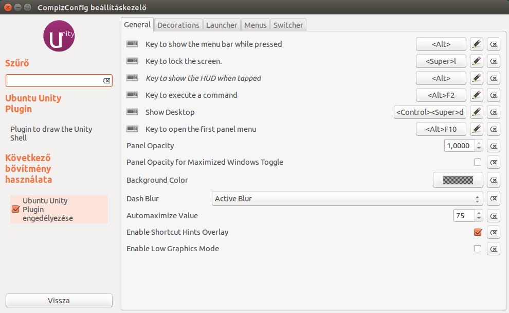 CompizConfig beállításkezelő, Ubuntu Unity Plugin