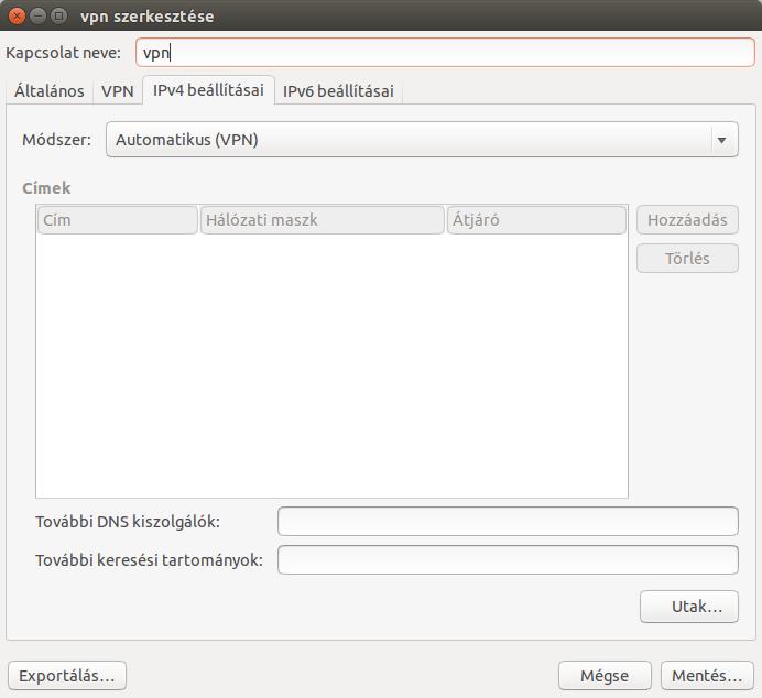 IPv4 beállításai fül