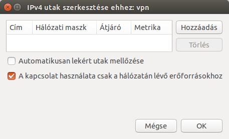 IPv4 beállításai fül Utak beállítása