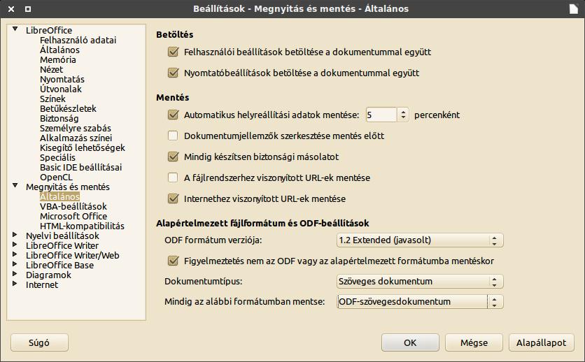 LibreOffice, Beállítások ablak: Megnyitás és mentés