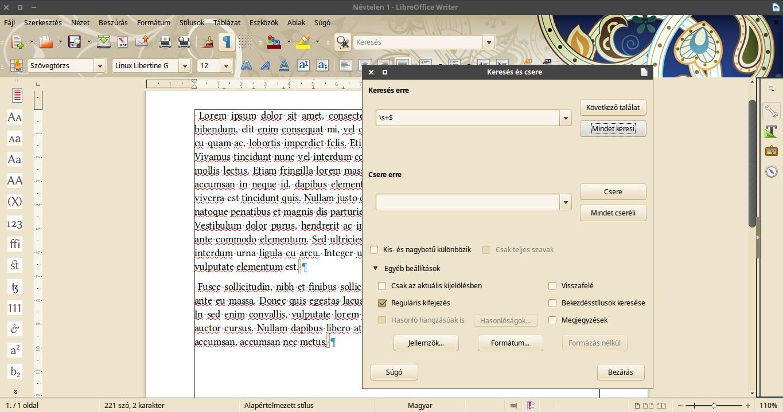 LibreOffice bekezdés végi szóközök törlése keresés és cserével