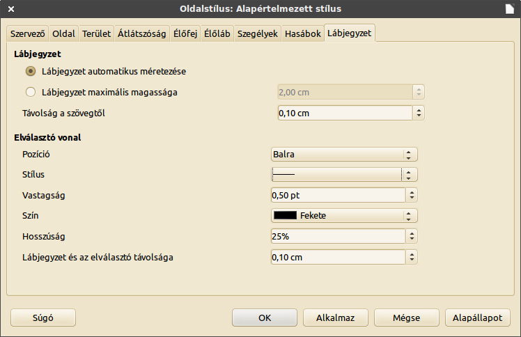 LibreOffice lábjegyzet beállítások